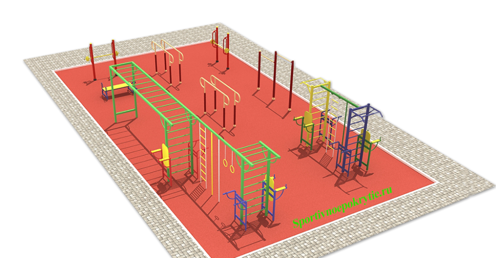 Спортивная площадка с воркаут (тренажеры для уличного фитнеса)